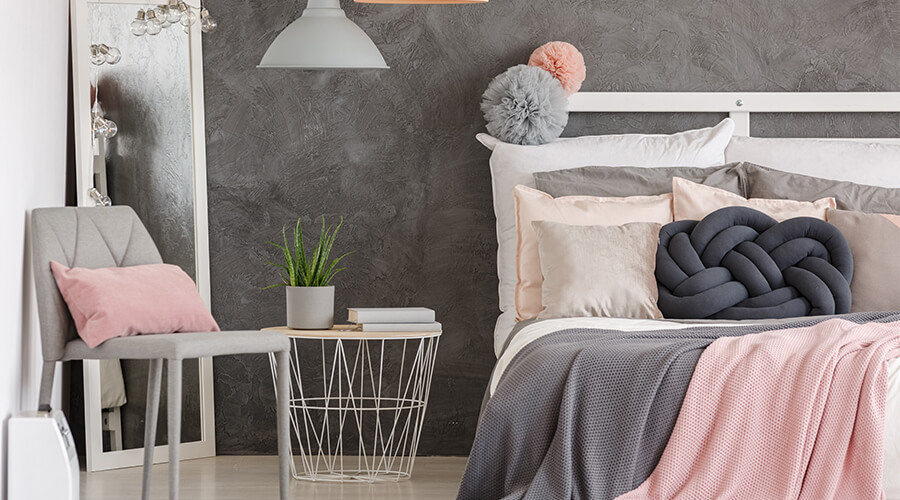 pink and grey bedsheets bedroom design
