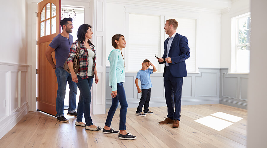 estate agent showing family home