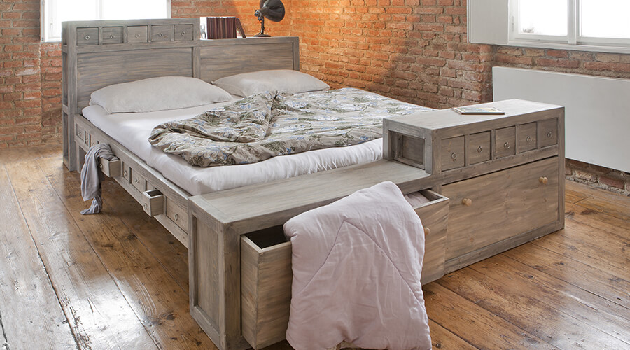 bed with drawers and storage underneath