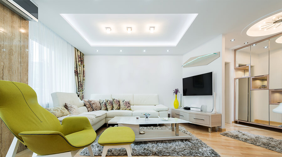 modern interior with LED lighting