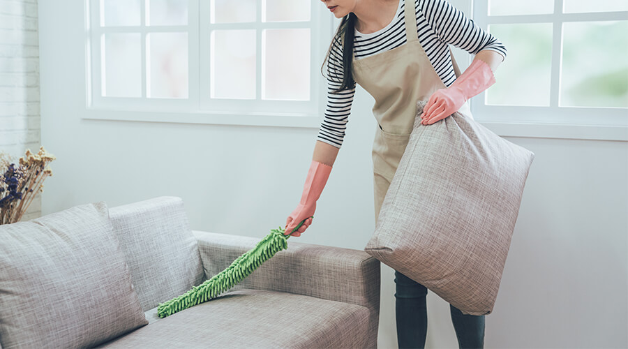 woman dusting sofa