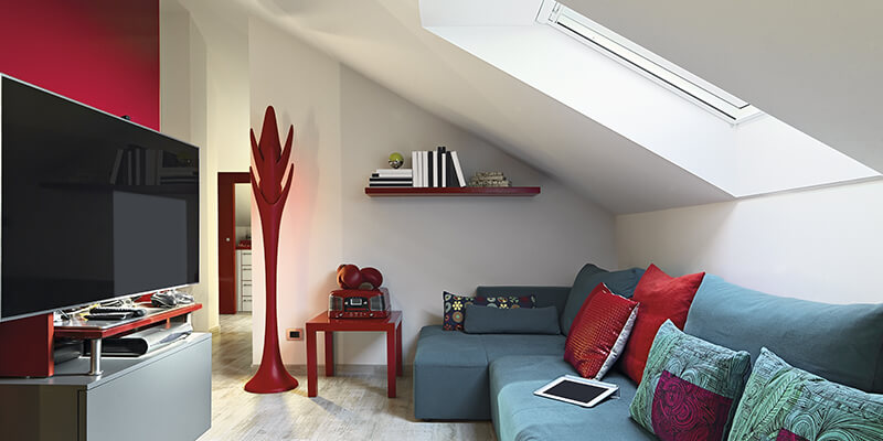 red living room loft conversion