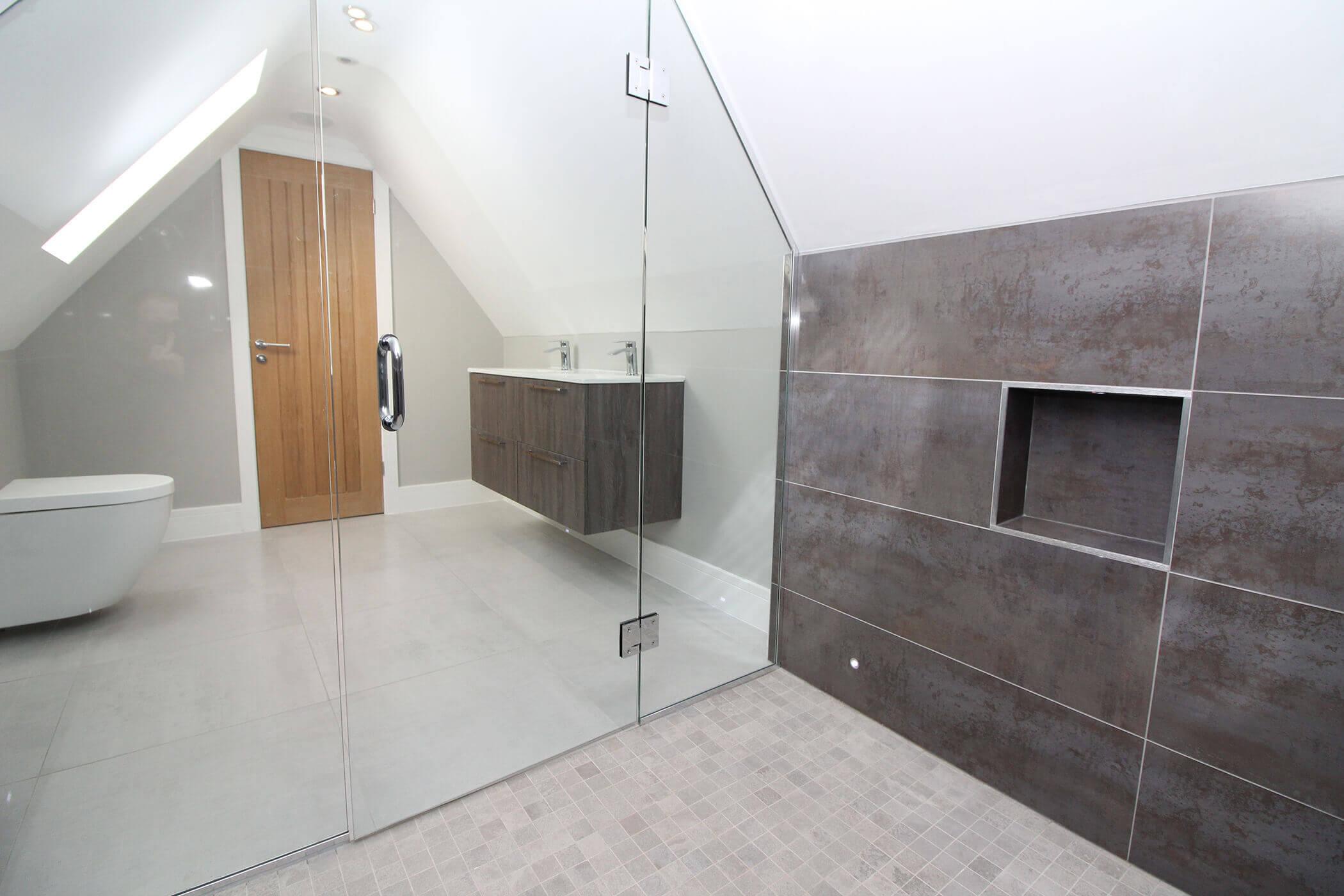 Stylish Grey Tiled Bathroom