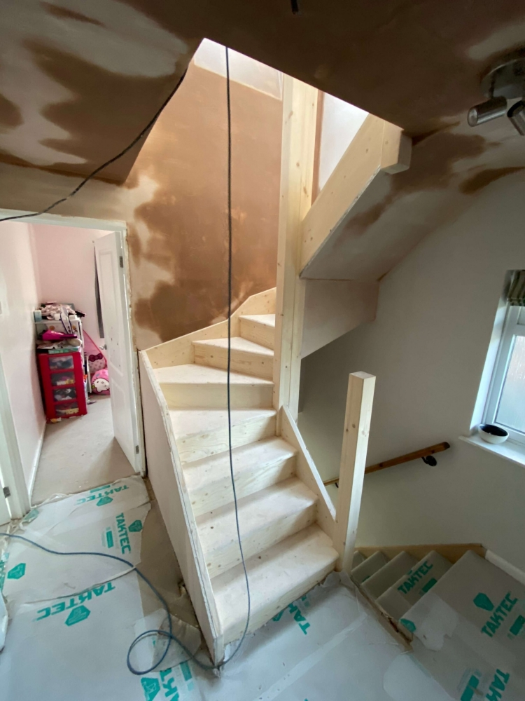 during staircase installation